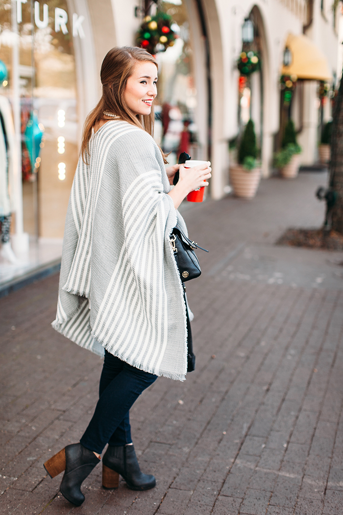 grey striped poncho, jeffrey campbell booties, jeffrey campbell hanger booties, black raybans, kate spade metro, tory burch 797 satchel