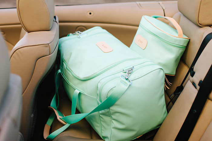 jon hart mint medium square duffel and makeup case, colorful luggage, mint luggage