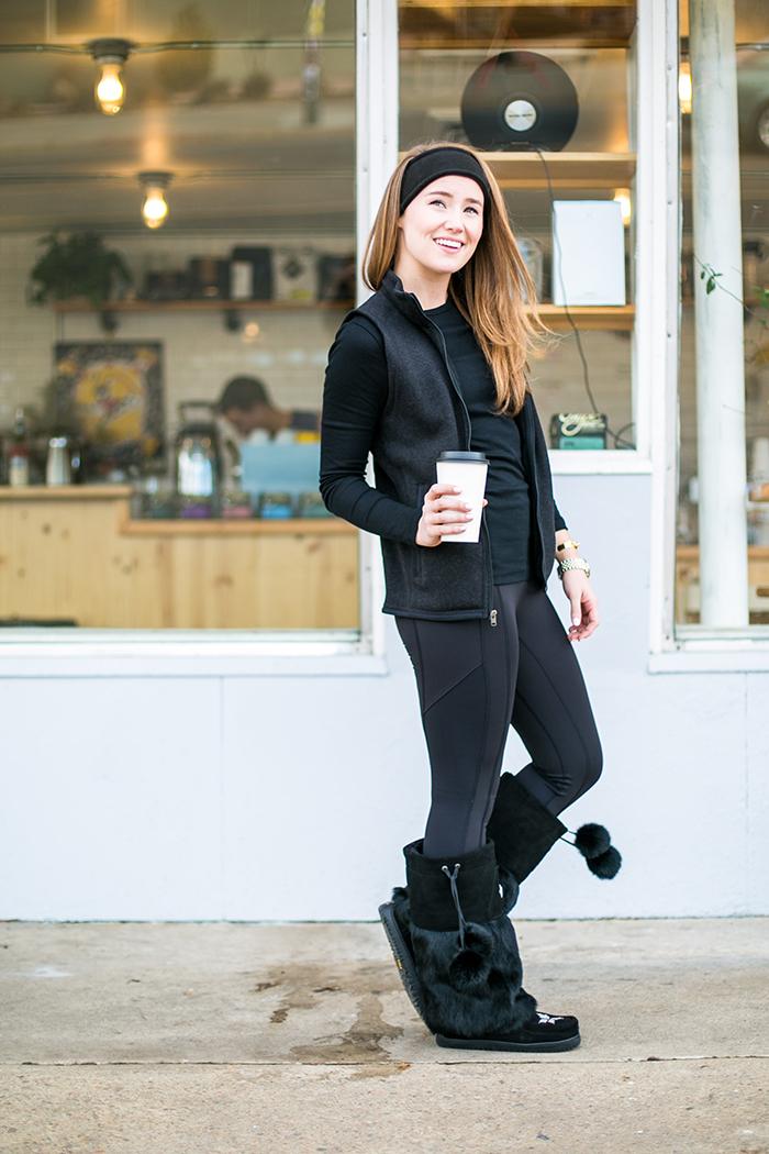 cute ski outfit, manitobah mukluk boots