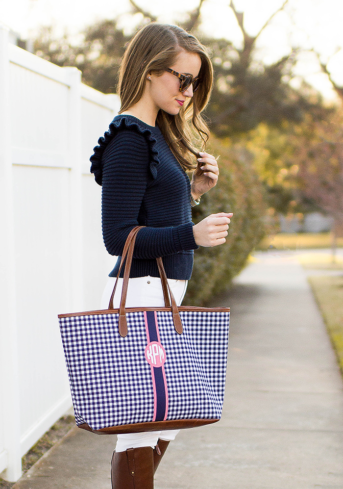 monogrammed tote, gingham tote, ruffle sweater