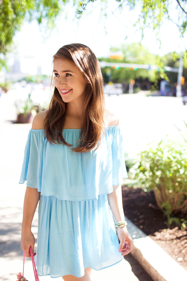 blue off the shoulder dress, off the shoulder dress, everly dress
