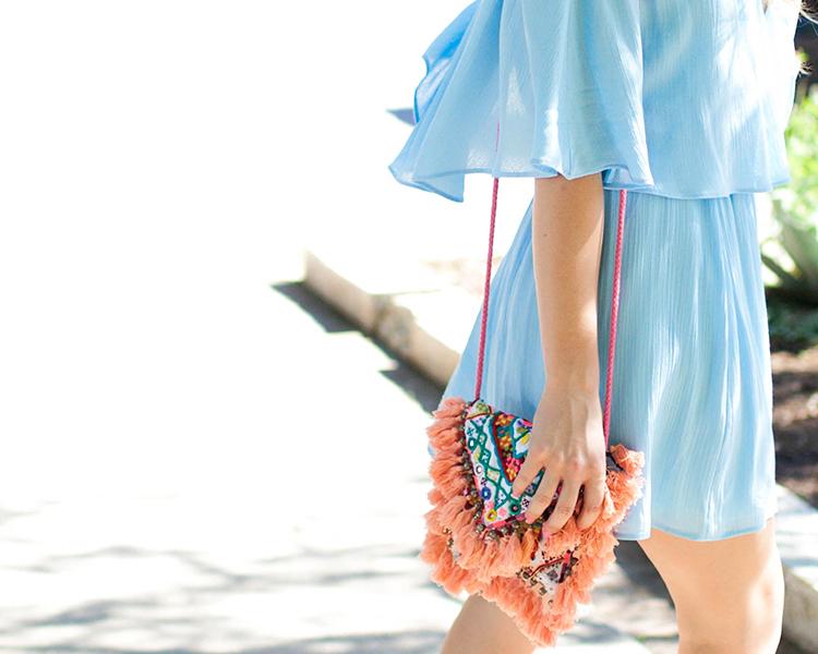 blue off the shoulder dress, everly dress, off the shoulder dress, tassel bag, tassel crossbody, embroidered crossbody, sashi tatiana bag