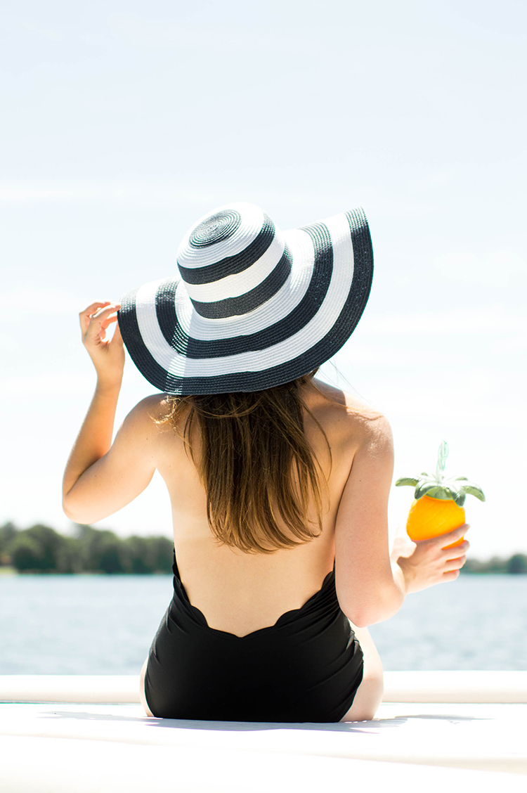 scallop one piece, scallop swim suit, striped sun hat, marysia swim, marysia swim dupe, marysia swim one piece