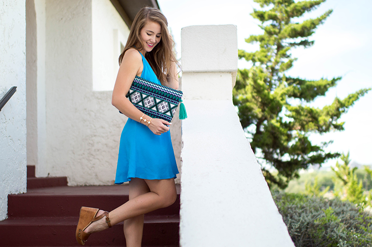 blue halter dress, sole society clutch, sole society wedges, sole society clutch