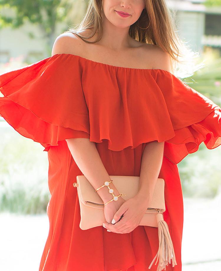 bRedDressBelmont-10mlm off the shoulder dress, red mlm off the shoulder dress, gigi new york stella clutch, tassel clutch, nude clutch, beige clutch, red dress,