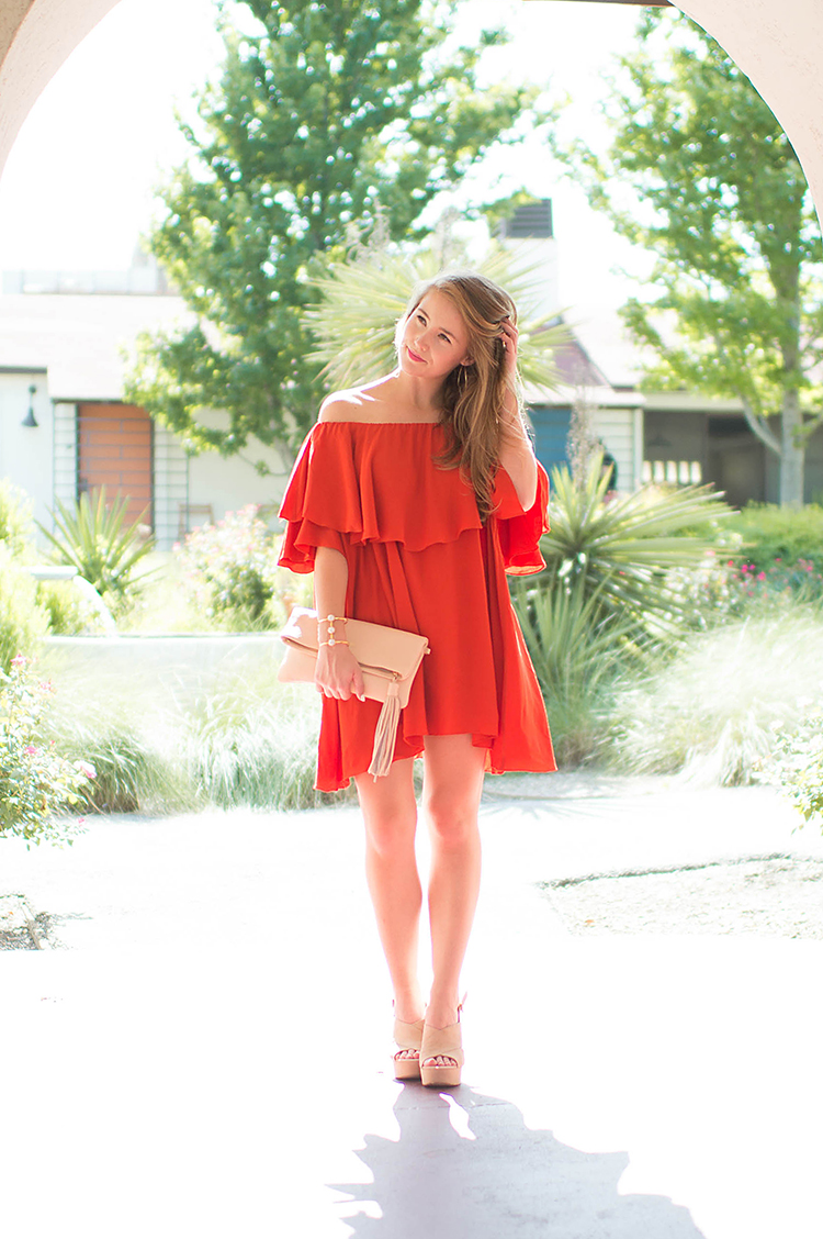 mlm off the shoulder dress, red mlm off the shoulder dress, gigi new york stella clutch, tassel clutch, nude clutch, beige clutch, red dress, platform heels, platform slingback heels, michael kors slingback platforms