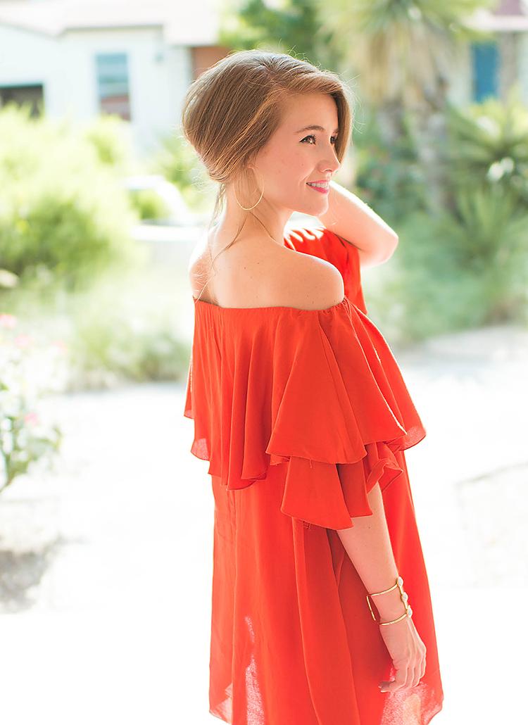 red mlm off the shoulder dress