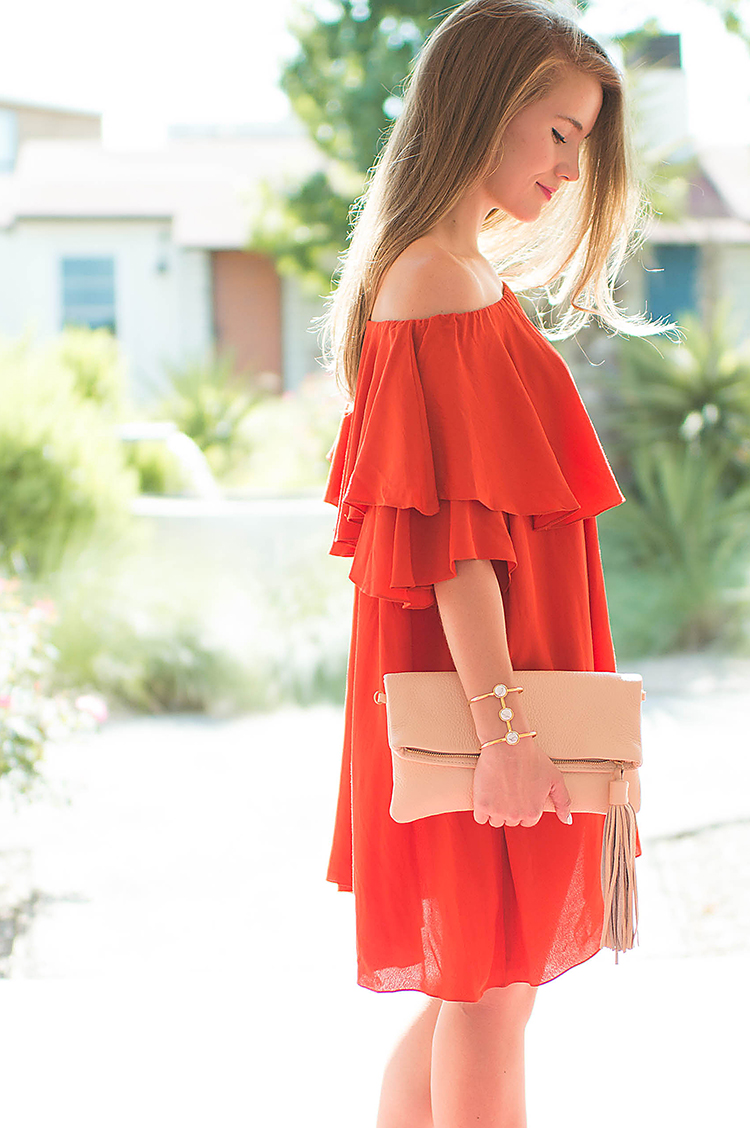 mlm off the shoulder dress, red mlm off the shoulder dress, gigi new york stella clutch, tassel clutch, nude clutch, beige clutch, red dress