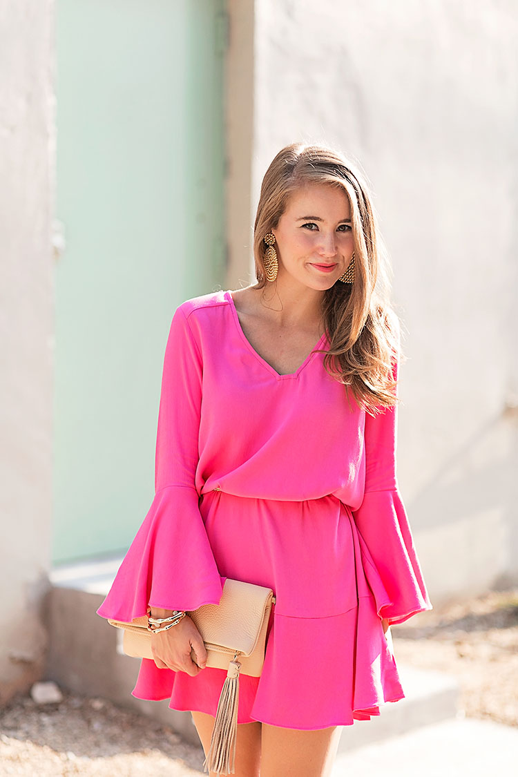 pink bell sleeve dress