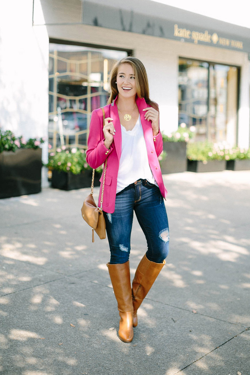 pink blazer, block monogram necklace, preppy outfit, riding boots