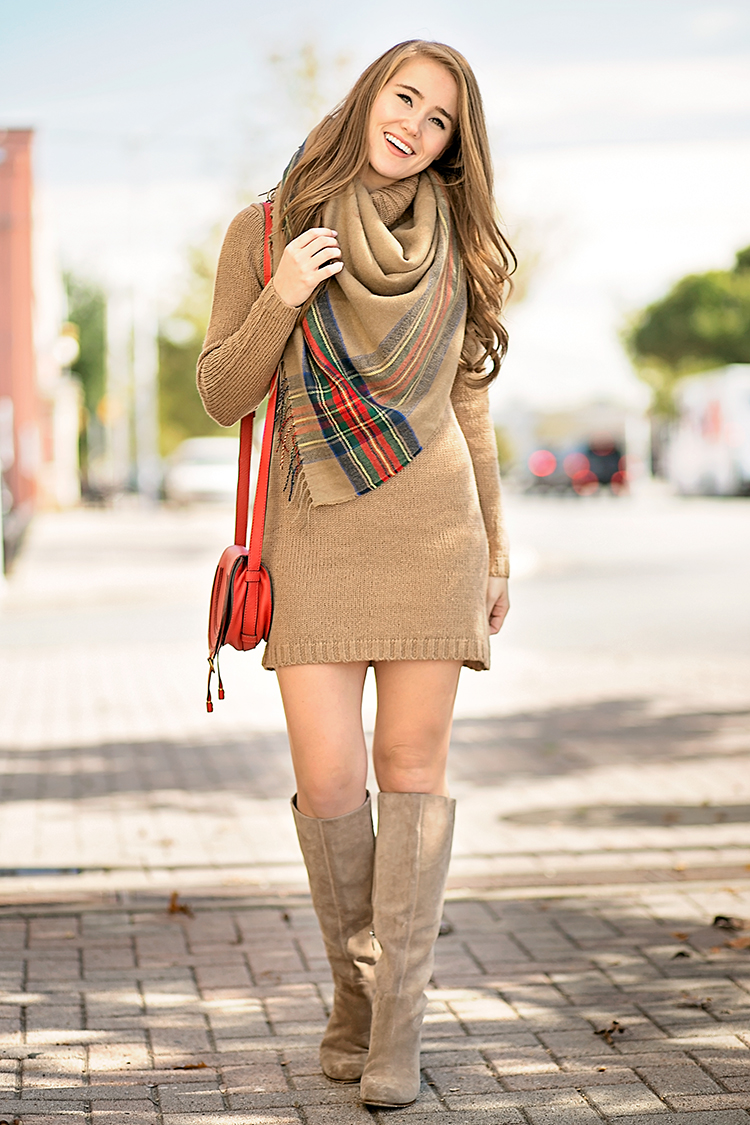 thanksgiving outfit, blanket scarf, sweater dress