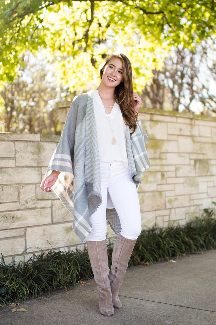 grey plaid cape, grey plaid poncho, grey plaid wrap