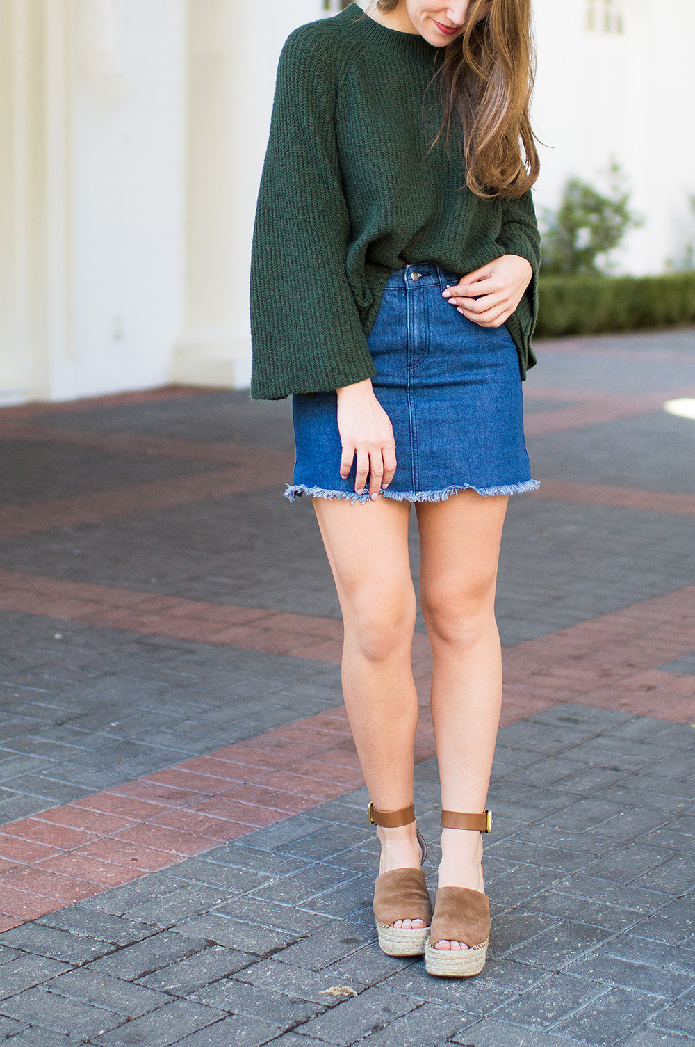 winter wedges, denim skirt, bell sleeve sweater, marc fisher wedges, suede wedges