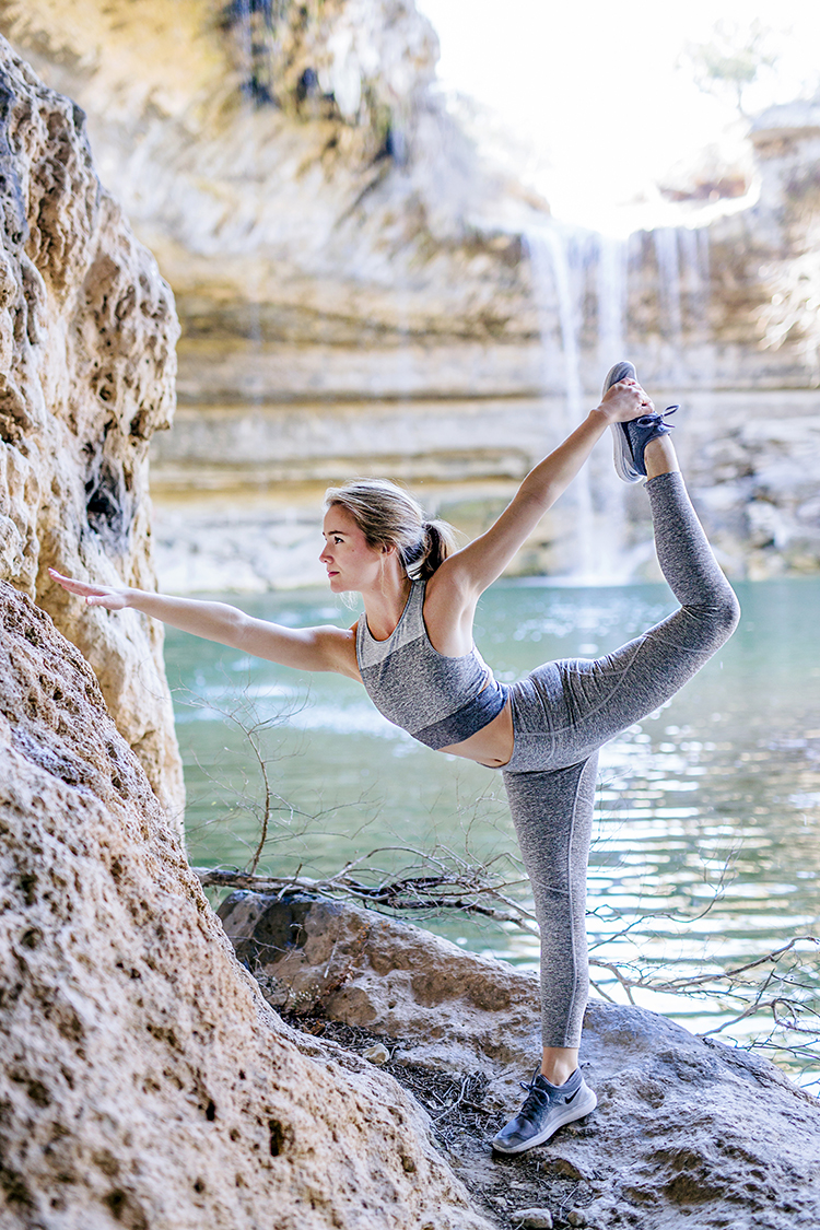 hamilton pool, austin, outdoor voices, yoga