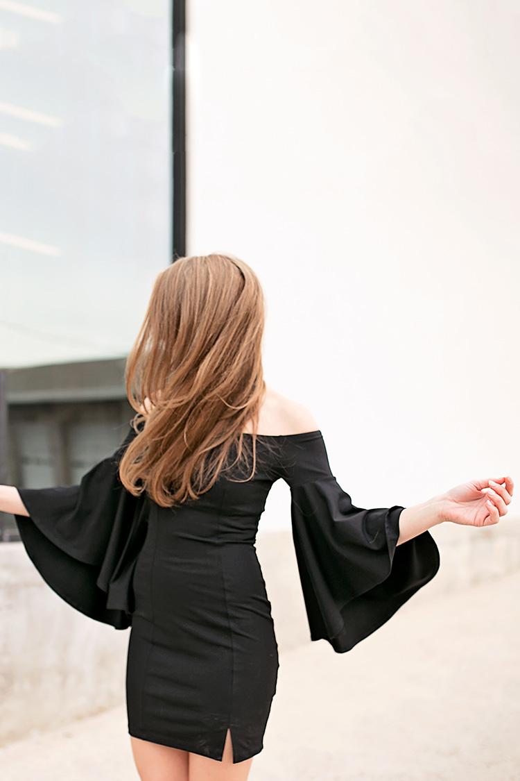 black bell sleeve dress
