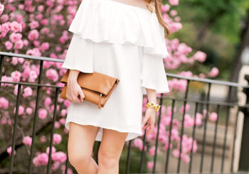 white off the shoulder ruffle dress