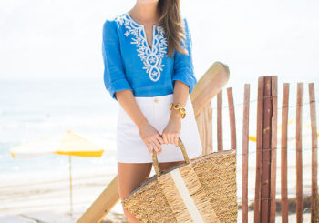 blue embroidered tunic