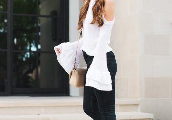 ruffle cold shoulder top with express