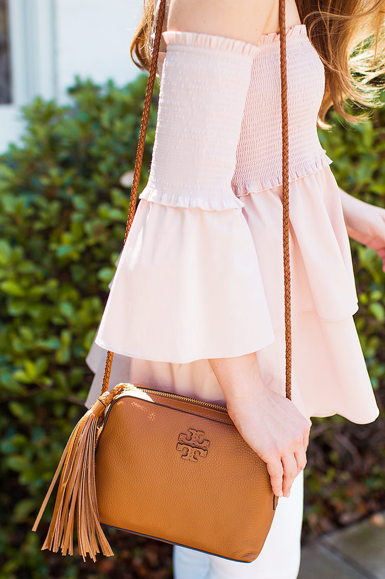 smocked off the shoulder top, tory burch tassel crossbody