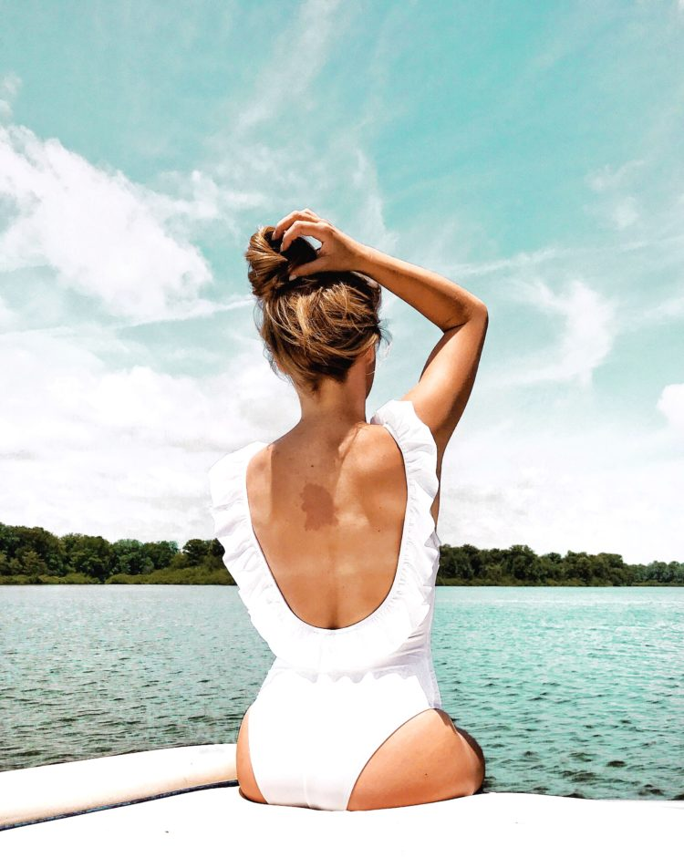 cutest target swimsuits, target swimsuit, ruffle back one piece swimsuit