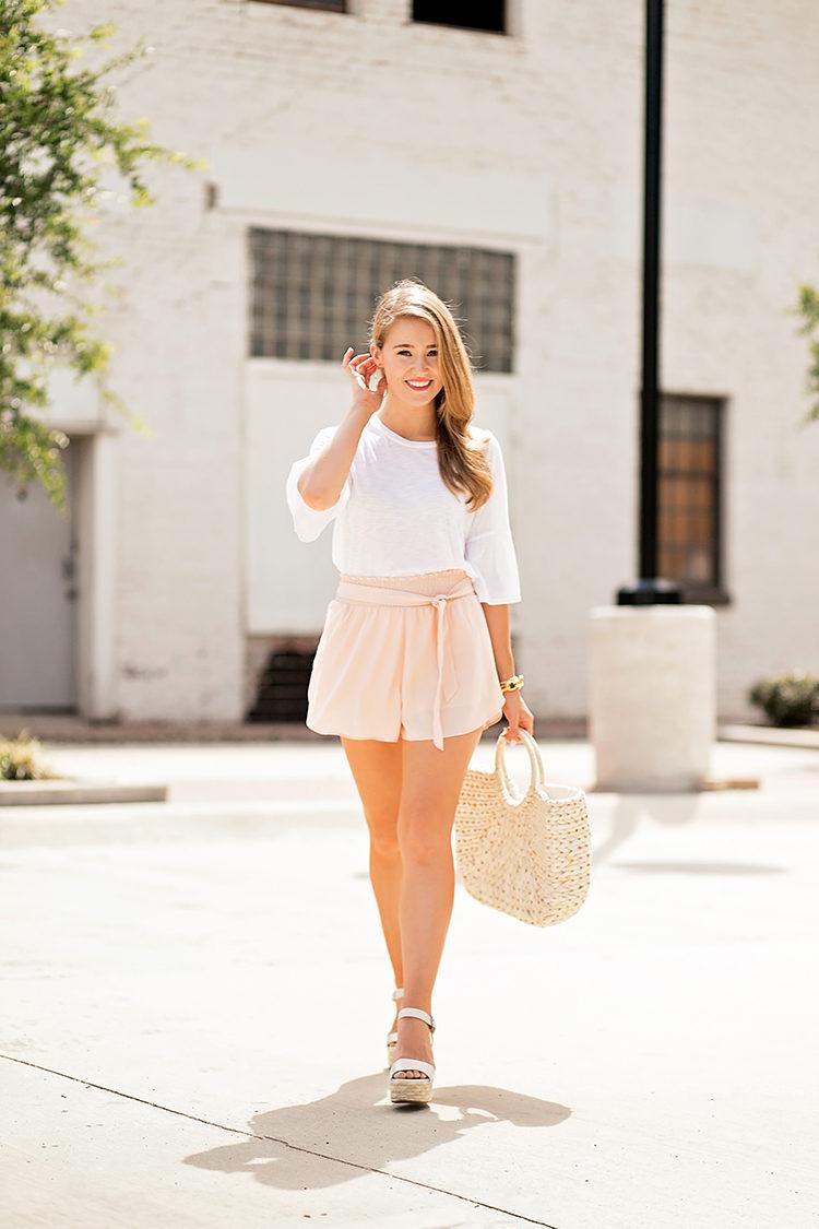blush high waisted shorts