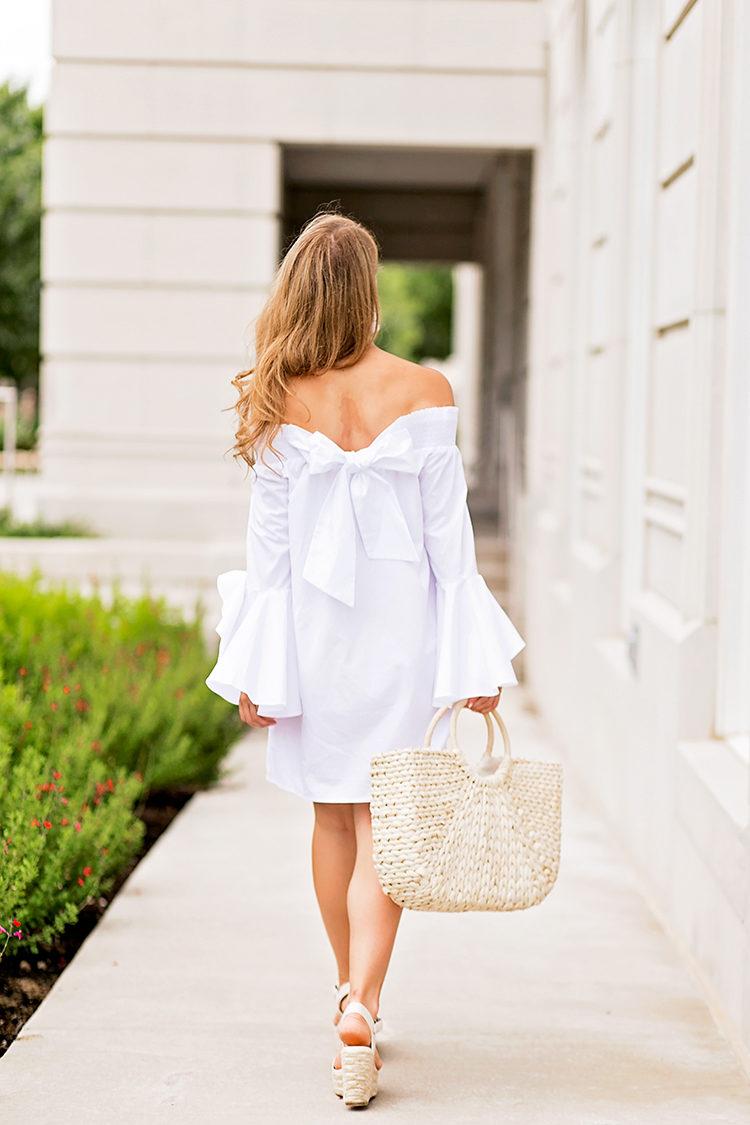 off the shoulder bow dress