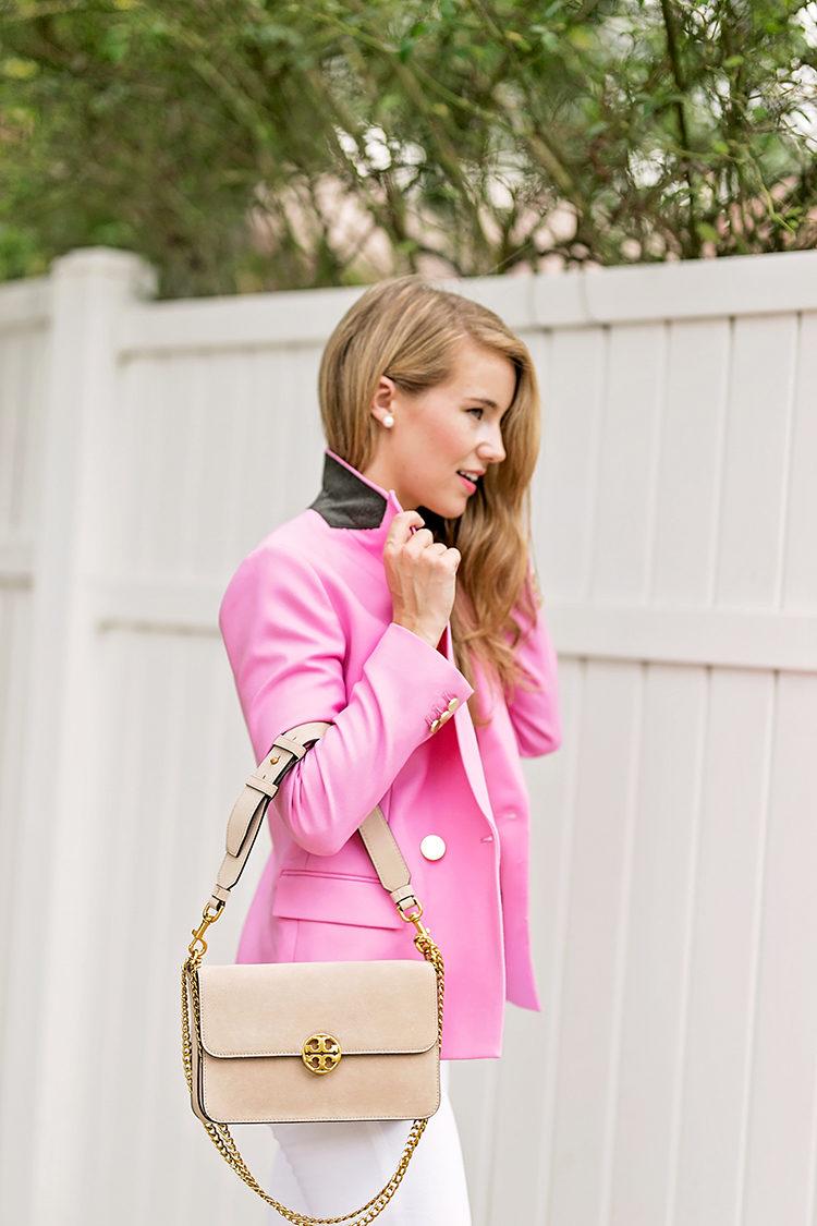 tory burch chelsea suede shoulder bag, pink blazer