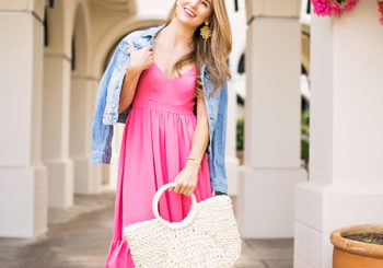 dainty pink midi dress
