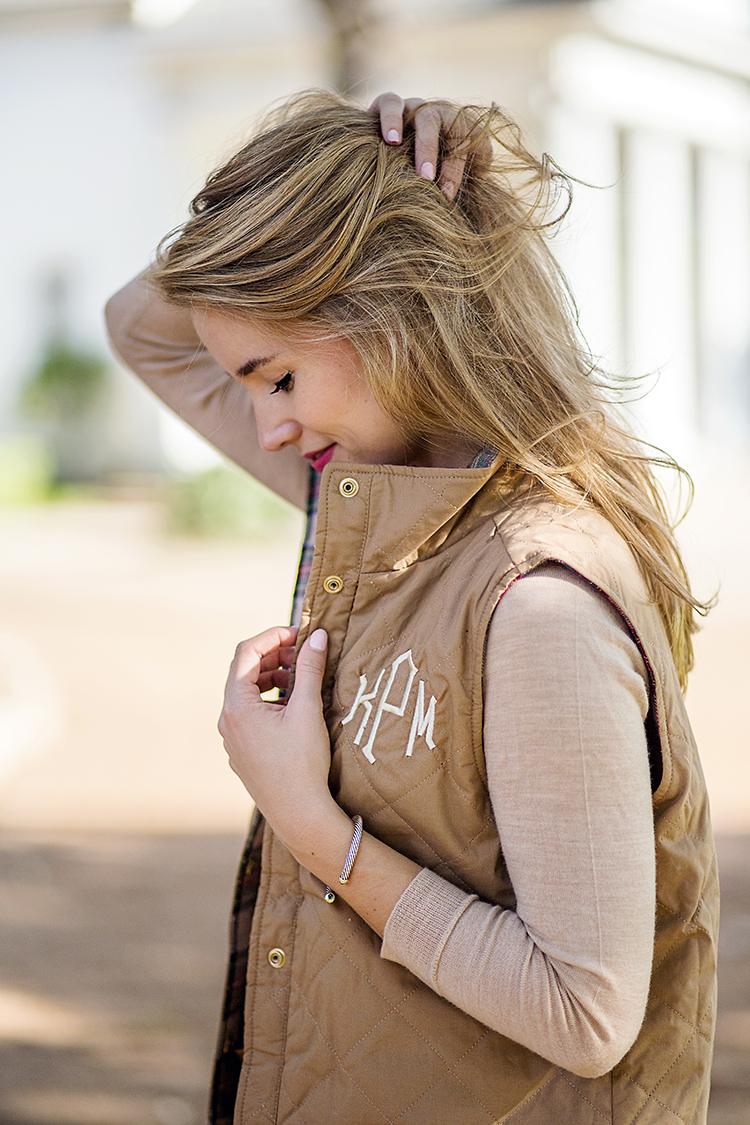 monogrammed quilted vest