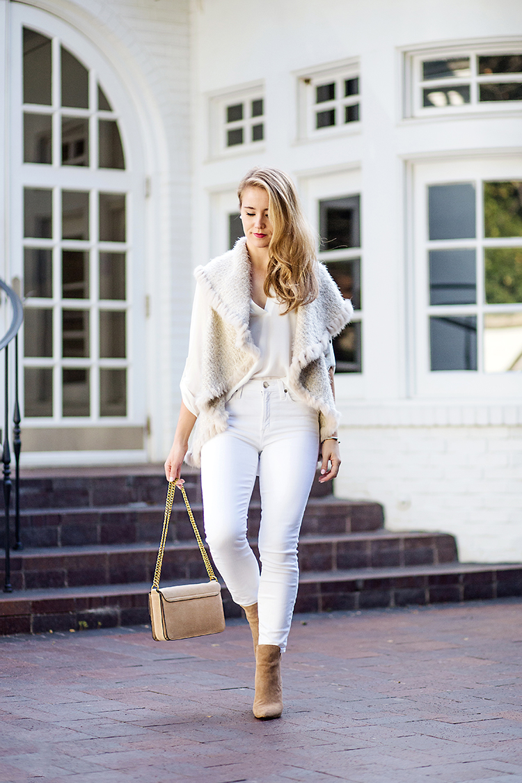 white fur vest