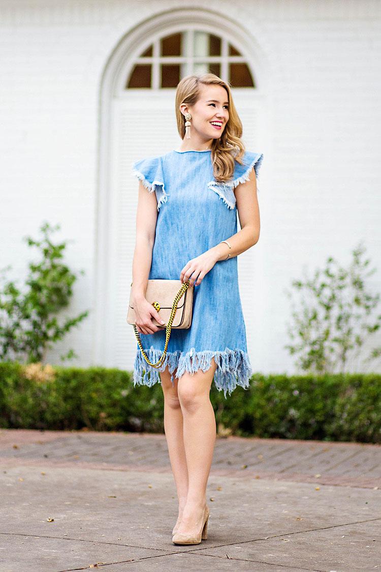 denim fringe dress