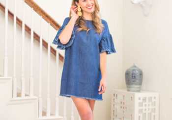 $35 denim ruffle sleeve dress