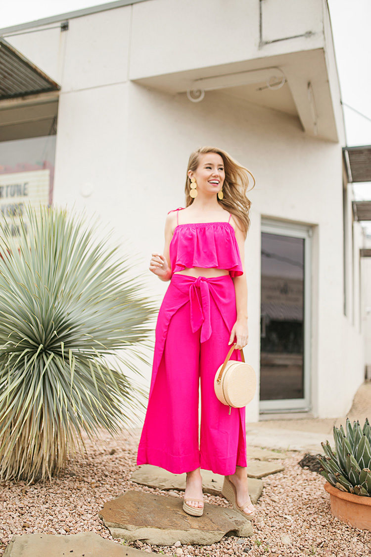 pink matching set, straw circle bag