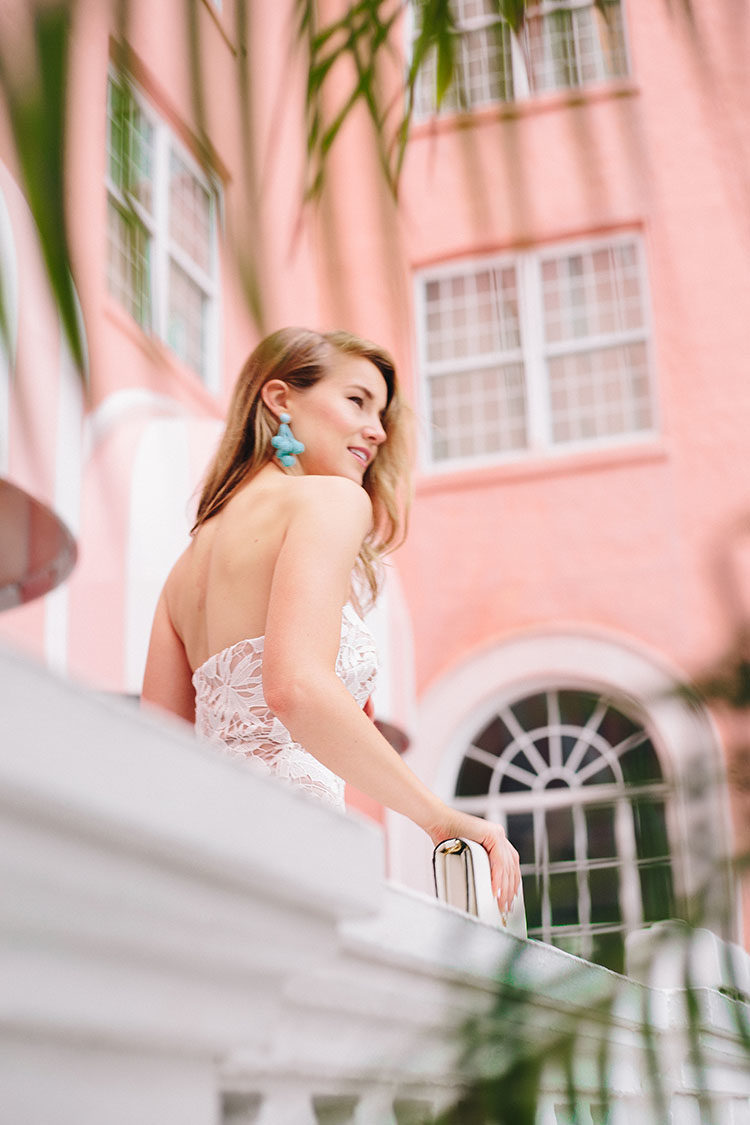 bloomingdale's prom dress, prom dress, white lace evening gown, turquoise earrings, aidan mattox gown