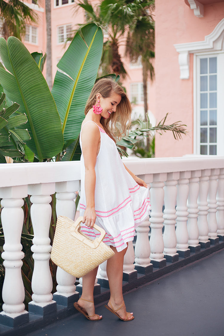 pink ric rac dress, the don cesar hotel, ancient greek sandals