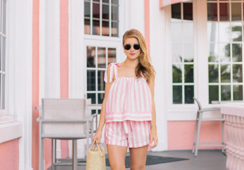 the cutest pink striped matching set