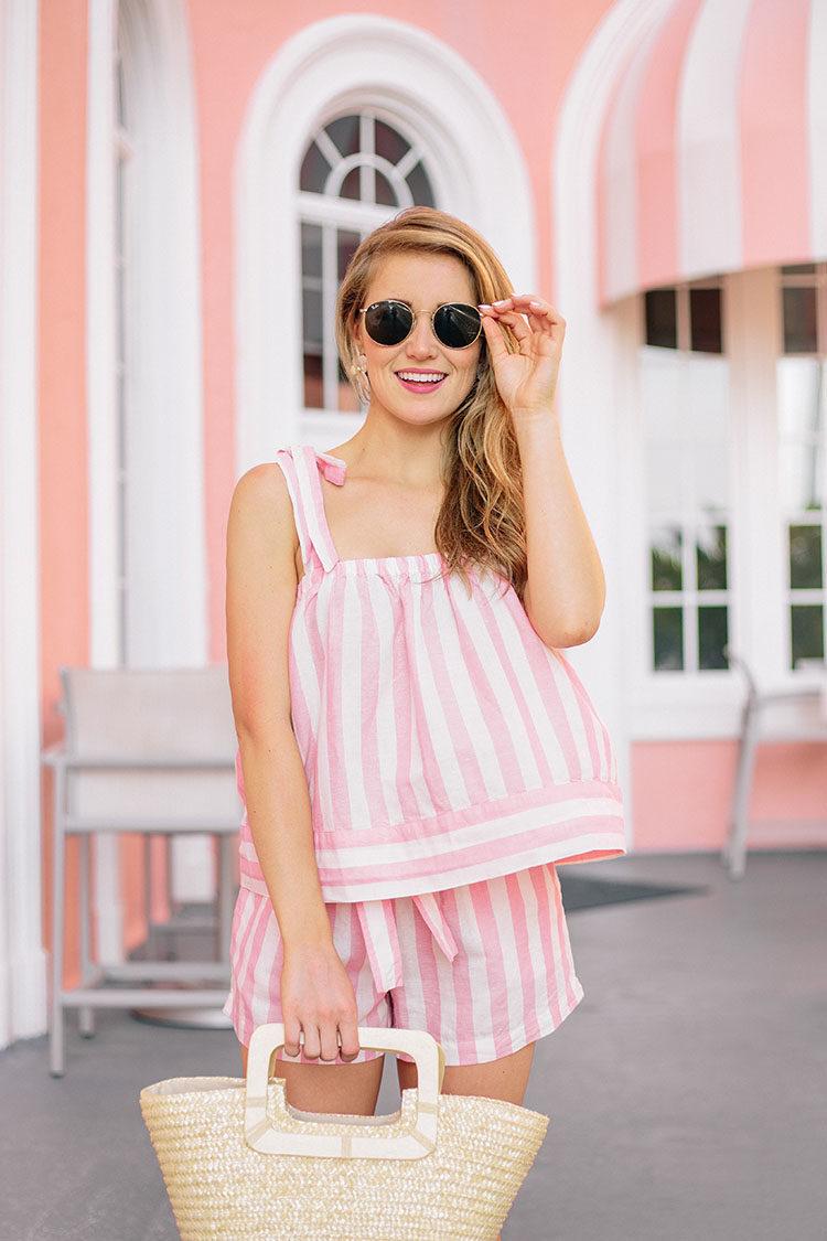 pink striped matching set