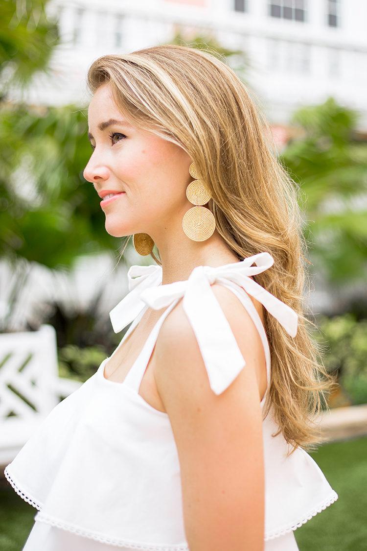 shopbop sale, wayf ruffle dress, lisi lerch earrings, gold circle statement earrings