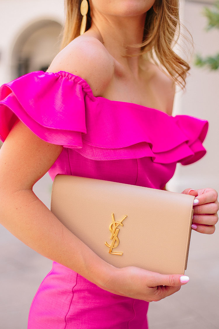pink ruffle off the shoulder dress
