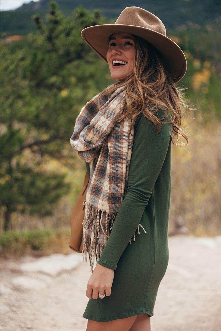 lou and grey long sleeve dress, brixton wool felt hat