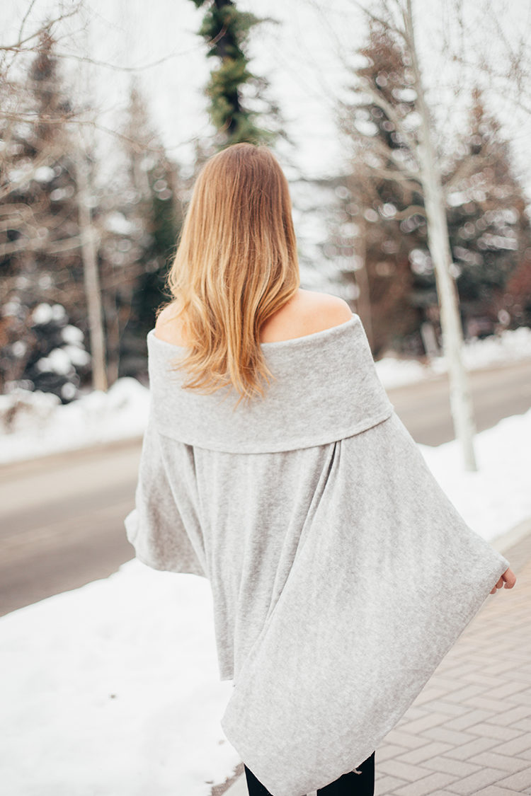 grey off the shoulder sweater