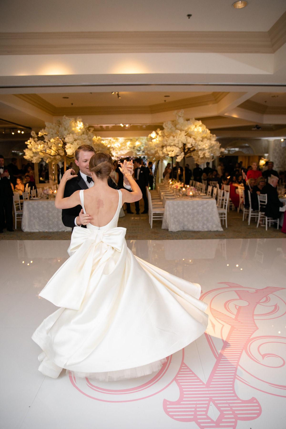 bow wedding dress, sareh nouri brooklyn wedding dress, classic wedding dress, bateau neckline wedding dress, long train wedding dress