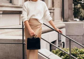 the satin skirt + sweater trend