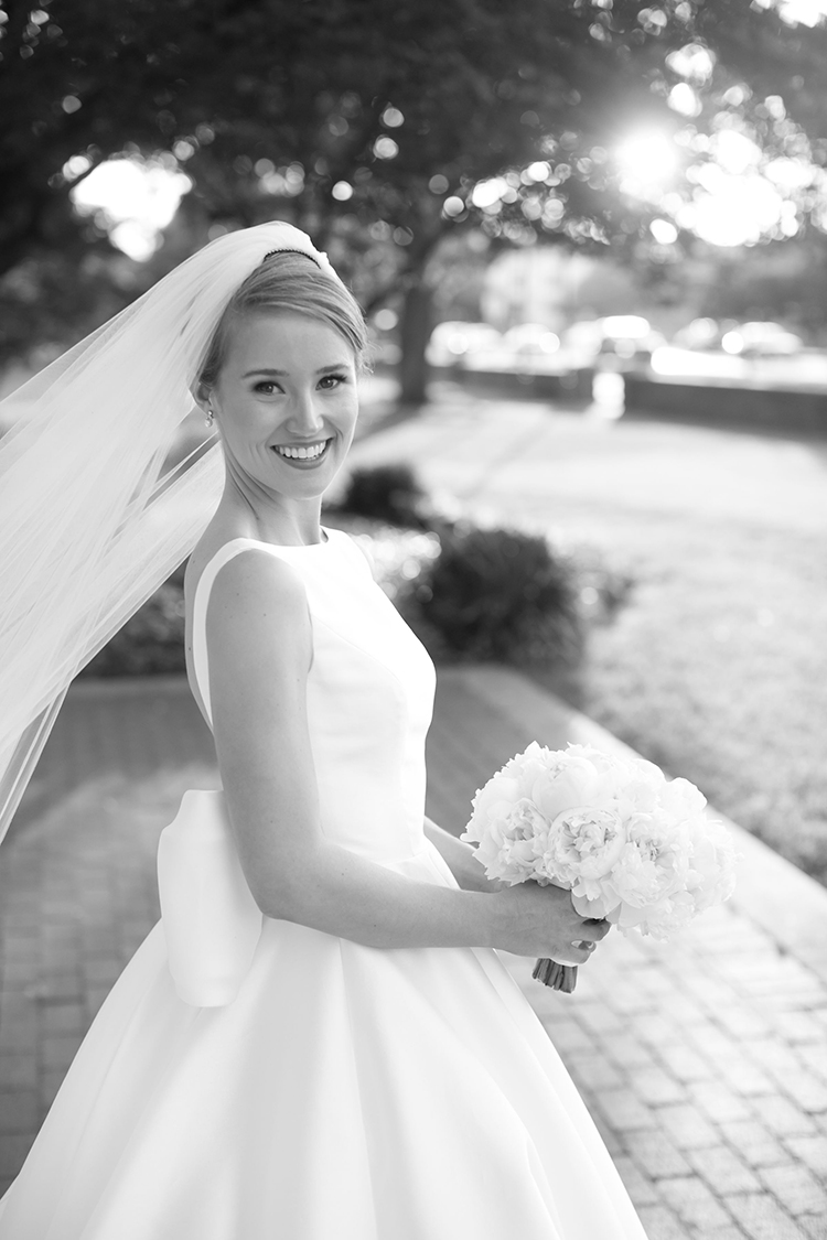 classic bridal portraits, bride, high-neck wedding dress, french twist, wedding up-do, sareh nouri, dallas bride, park cities baptist church