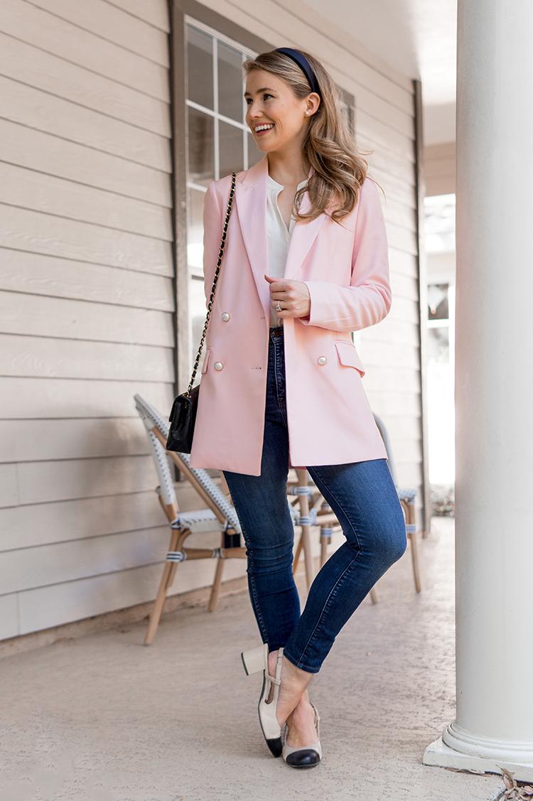 pink pearl blazer, madewell jeans, captoe slingback shoes