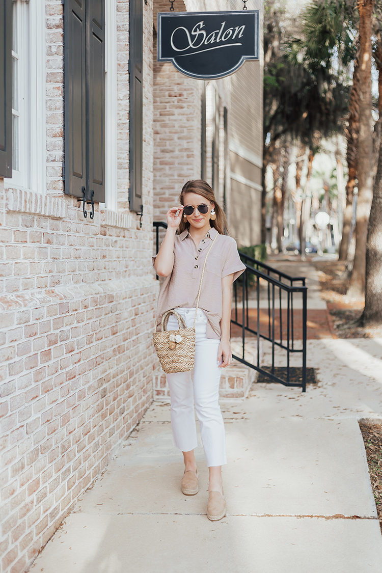neutral spring outfit, straw bag, cropped white jeans