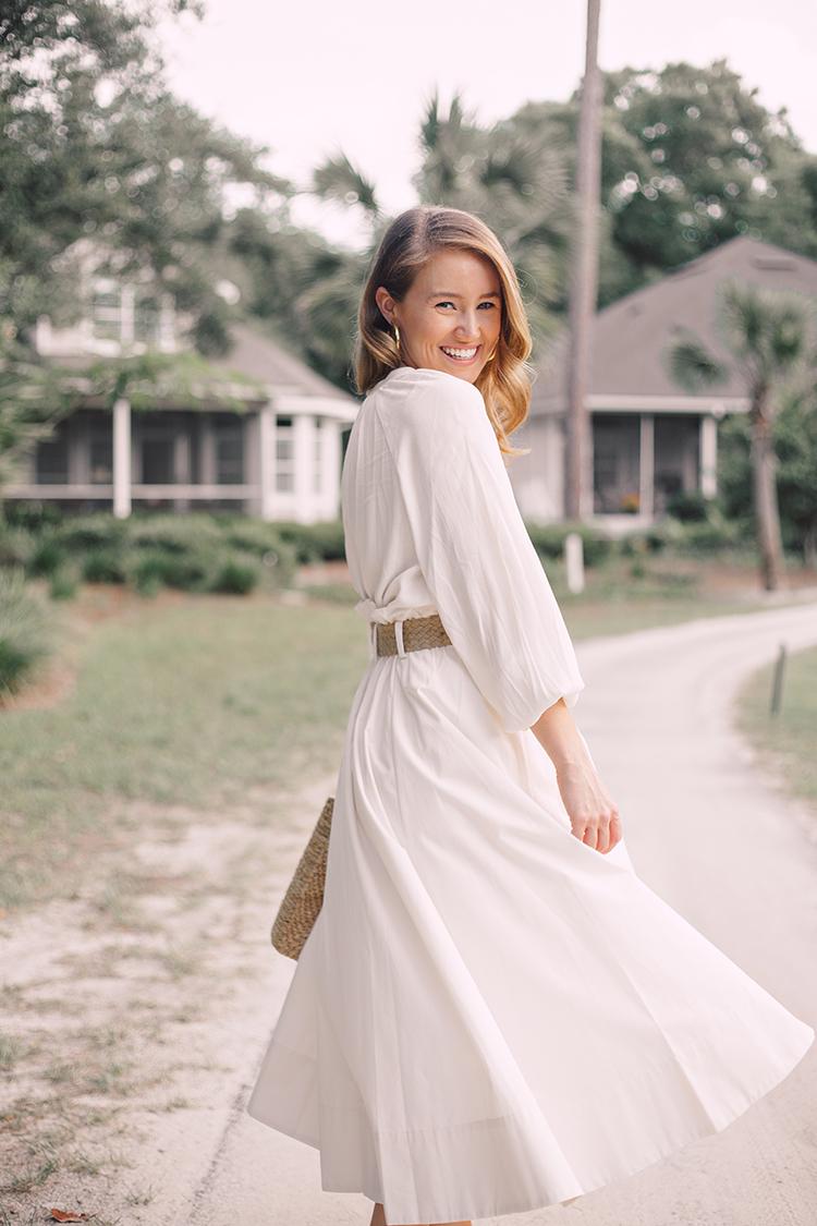 white midi skirt, espadrille wedges, straw bag, woven belt