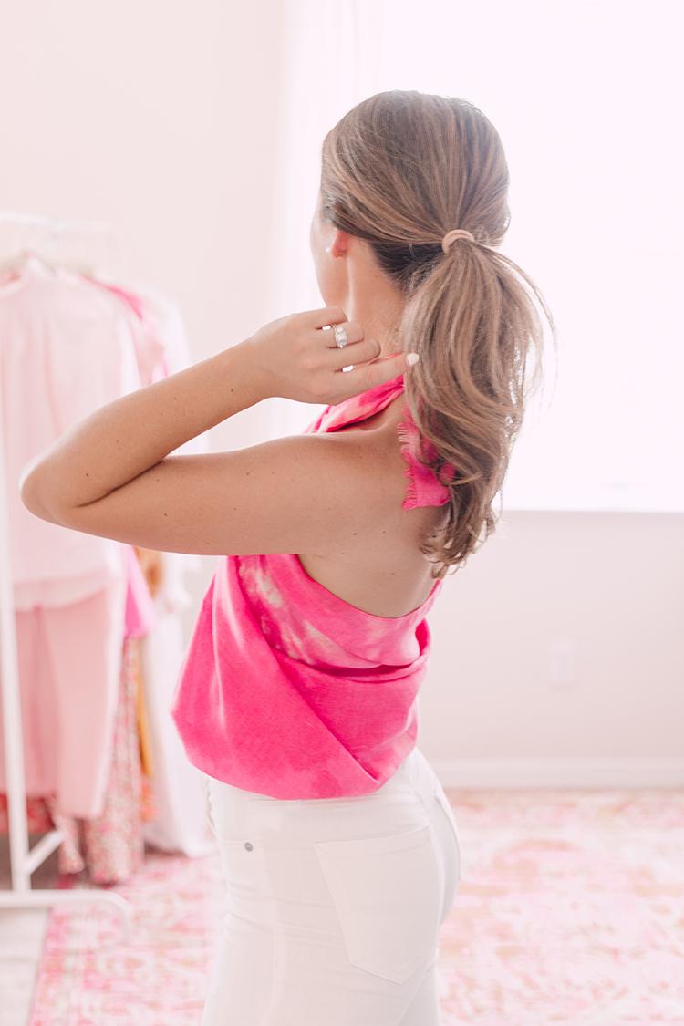 pink tie-dye scarf