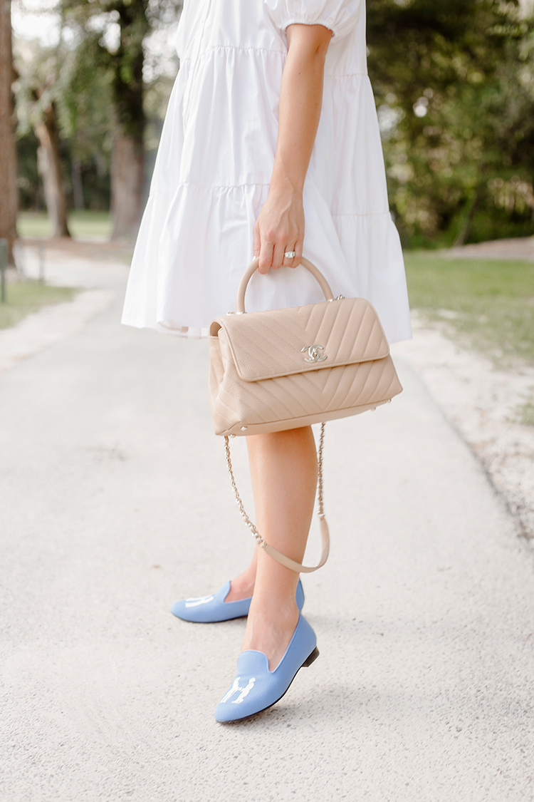 white collared zara dress, blue hadleighs slippers women, chanel medium coco handle caviar