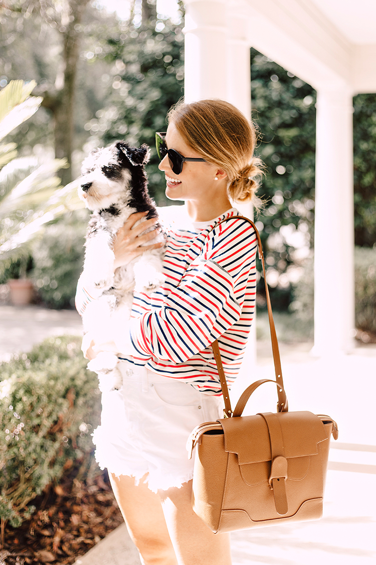 red and blue striped top, tan chanel ballet flats, senreve midi maestra